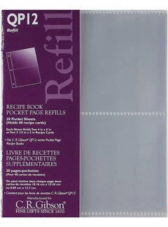 C.R. Gibson Recipe Book Refill-Plastic Transparent Pocket Page Refill
