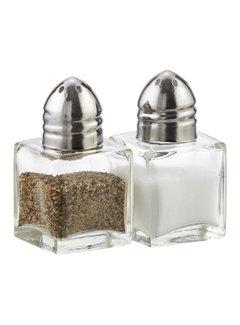 Cube Salt or Pepper Shakers, Nickel Plate & Glass