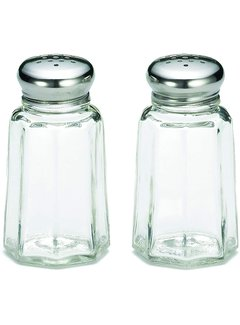 TableCraft 1 oz Paneled S&P Shaker Set with Stainless Steel Tops