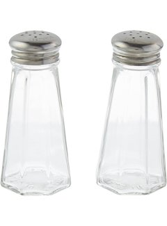 3oz Paneled Salt & Pepper Shakers w/ Stainless Tops