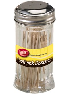 Fluted Glass Toothpick Dispenser, S/S Top