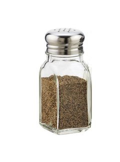 Tablecraft 2 oz Square S&P Shaker Set w/ S/S Top
