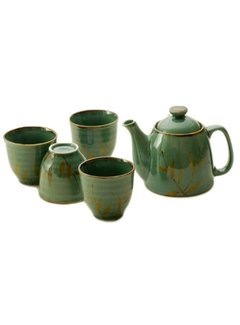 Fuji TEA SET W/STRAINER & 4 CUPS - GREEN