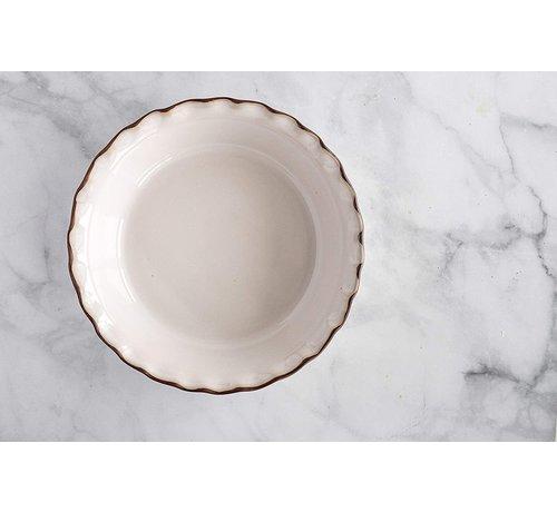Jefferson Street Pie Dish, New England White Ceramic