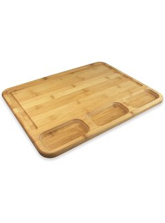 """Totally Bamboo 3-Well Kitchen Prep Board 17.5""""X 13.5""""x.75"""""""