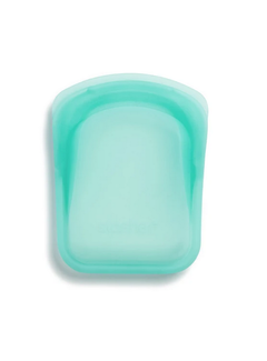 Stasher Silicone Reusable Pocket Bag: 2 Pack Aqua & Clear