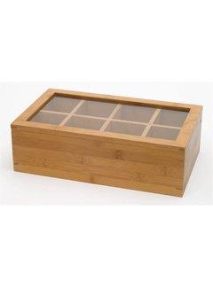 Lipper Bamboo Tea Box W/Acrylic Top, 8 Compartment