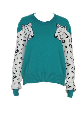 House Of Quirky Snow leopard knit sweater