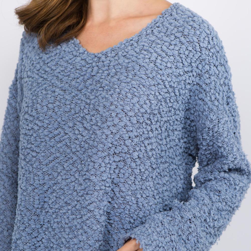 Judson & Co. V Neck popcorn knit sweater