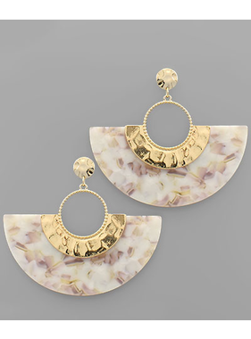 Golden Stella Acrylic fan earrings