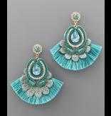 Golden Stella Teardrop fan tassel earrings