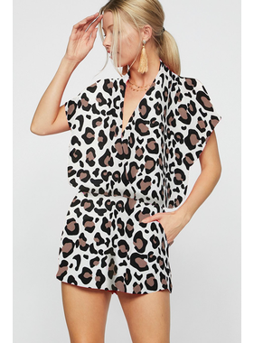 Bibi Leopard print short sleeve woven romper with wrap front detail