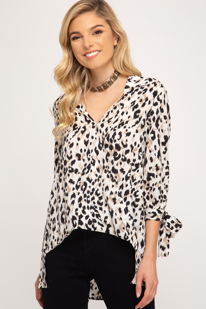 She + Sky 3/4 sleeve woven surplice hi low leopard print top with tie sleeve detailing