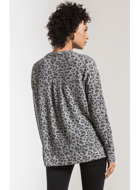 Z Supply Leopard thermal split neck top
