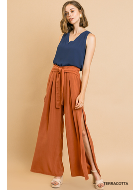 Umgee Linen blend wide leg side slit pants