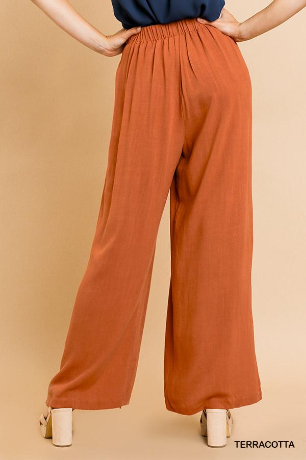 Umgee Linen blend wide leg side slit pants