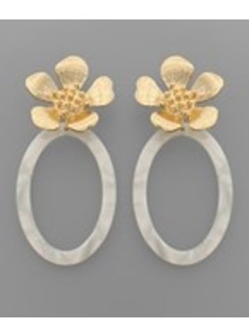Golden Stella Flower & Acrylic oval earrings