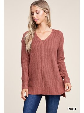 Staccato V neck long sleeve loose fit sweater