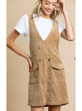 Umgee Corduroy overall v neck dress