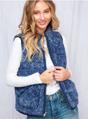 Peach Love California Solid faux fur reversible knit vest