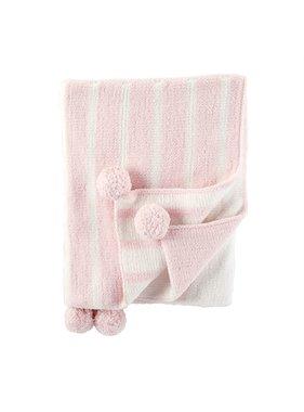 Mud Pie Pink color block blanket