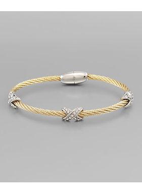 Golden Stella Cable & Criss cross crystal bracelet