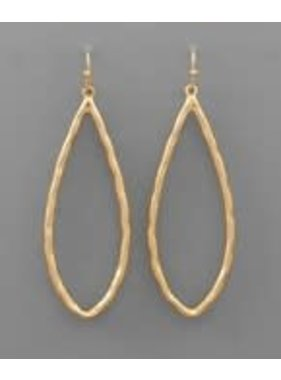 Golden Stella Hammered marquise earrings