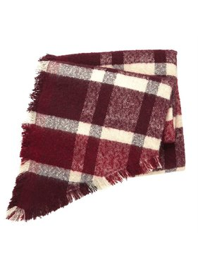 Mud Pie Rhombus plaid scarf- burgundy