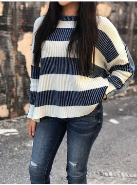 Vintage Havana Ivory with washed denim strip sweater