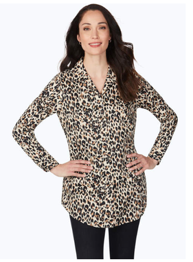 Foxcroft Lucca l/s Eve Leopard top