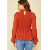 Peach Love California Smocking detail mock neck woven top