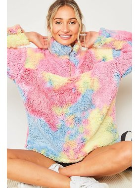 Peach Love California Rainbow faux fur knit jacket