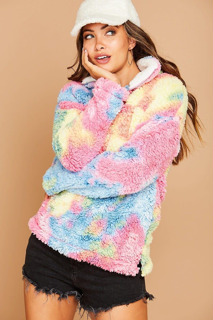 Peach Love California Rainbow faux fur knit jacket