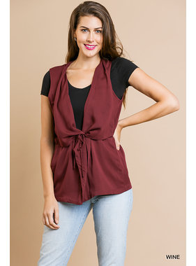Umgee Open front vest with waist tie