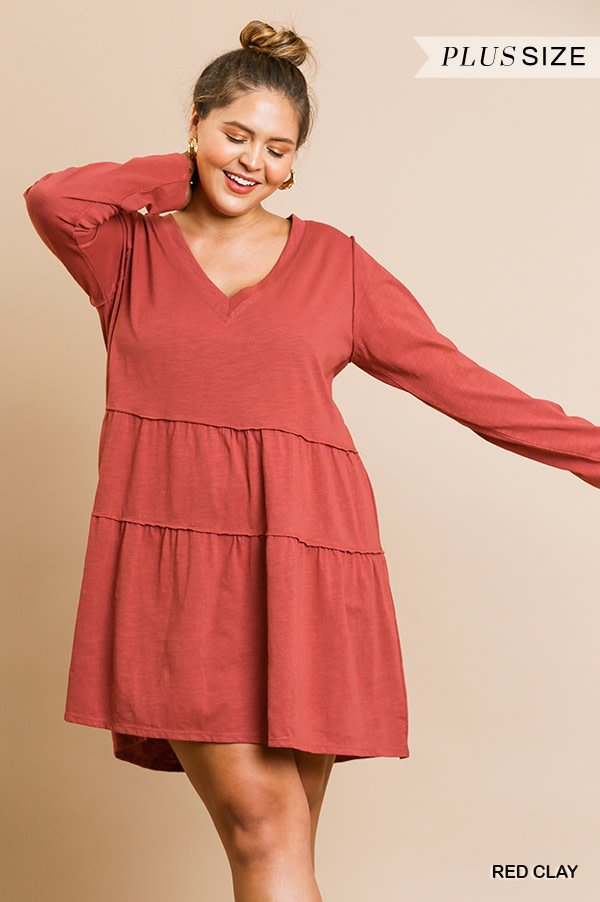 Umgee V-Neckline layered ruffle hemline dress