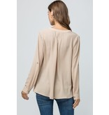 Entro Inc. Solid v neck placket top