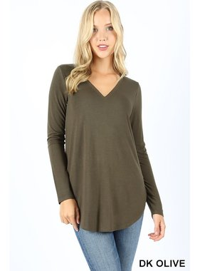Zenana Basic long sleeve v neck top