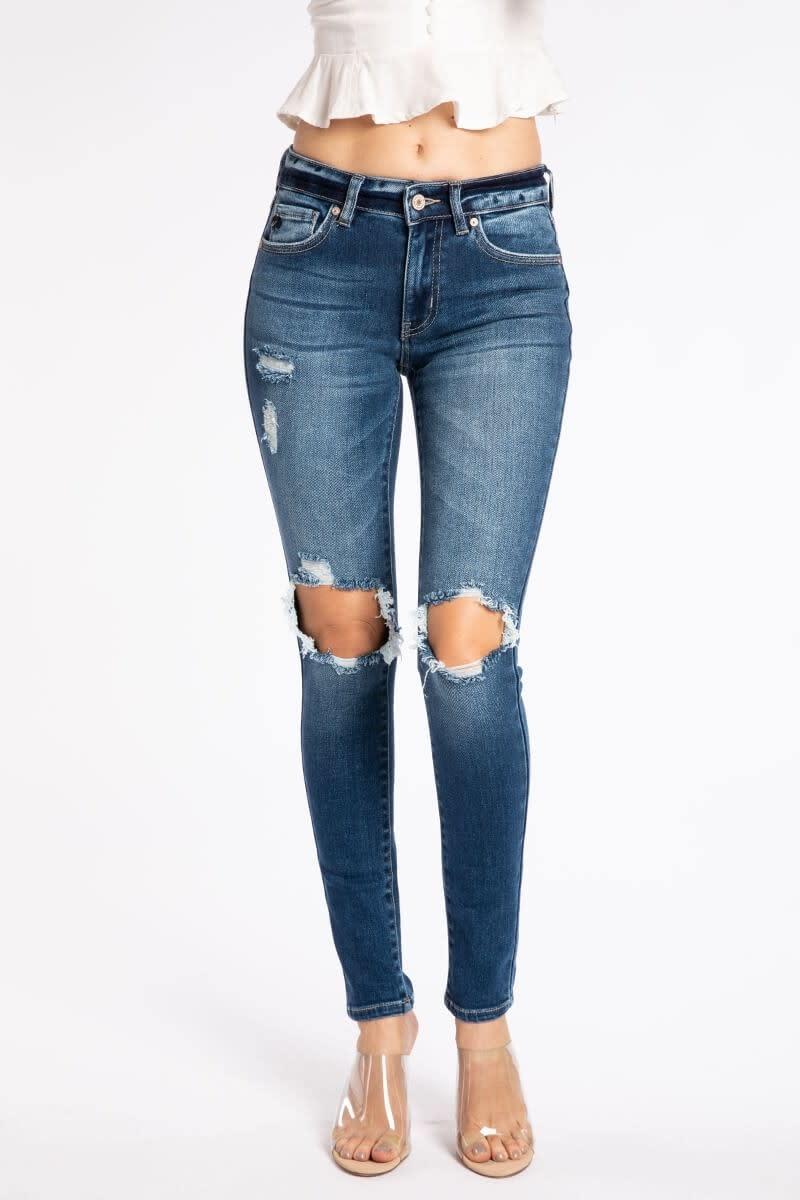 KanCan Destroyed mid rise super skinny jean