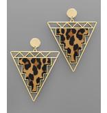 Golden Stella Animal print triangle earrings