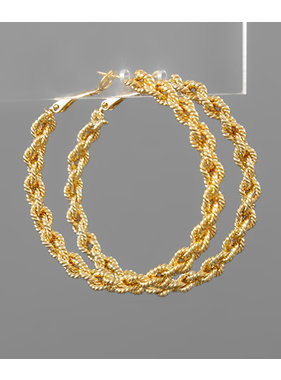 Golden Stella Textured chain hoop