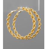 Golden Stella Textured chain hoop