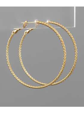 Golden Stella 50mm Textured hoops