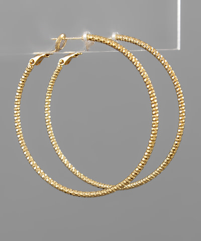 Golden Stella 50mm Textured hoops