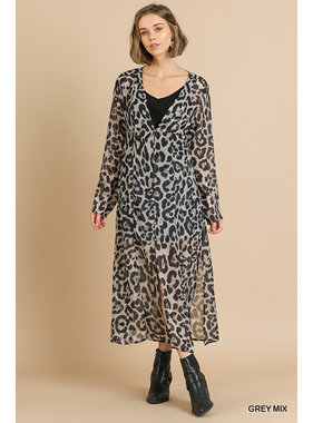 Umgee Sheer Animal print l/s button front kimono