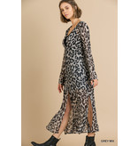 Umgee Sheer Animal print l/s button front kimono