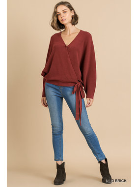 Umgee V-neck crossbody knit top