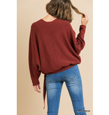 Umgee V-neck crossbody knit top
