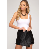 She + Sky Front wrap faux leather shorts