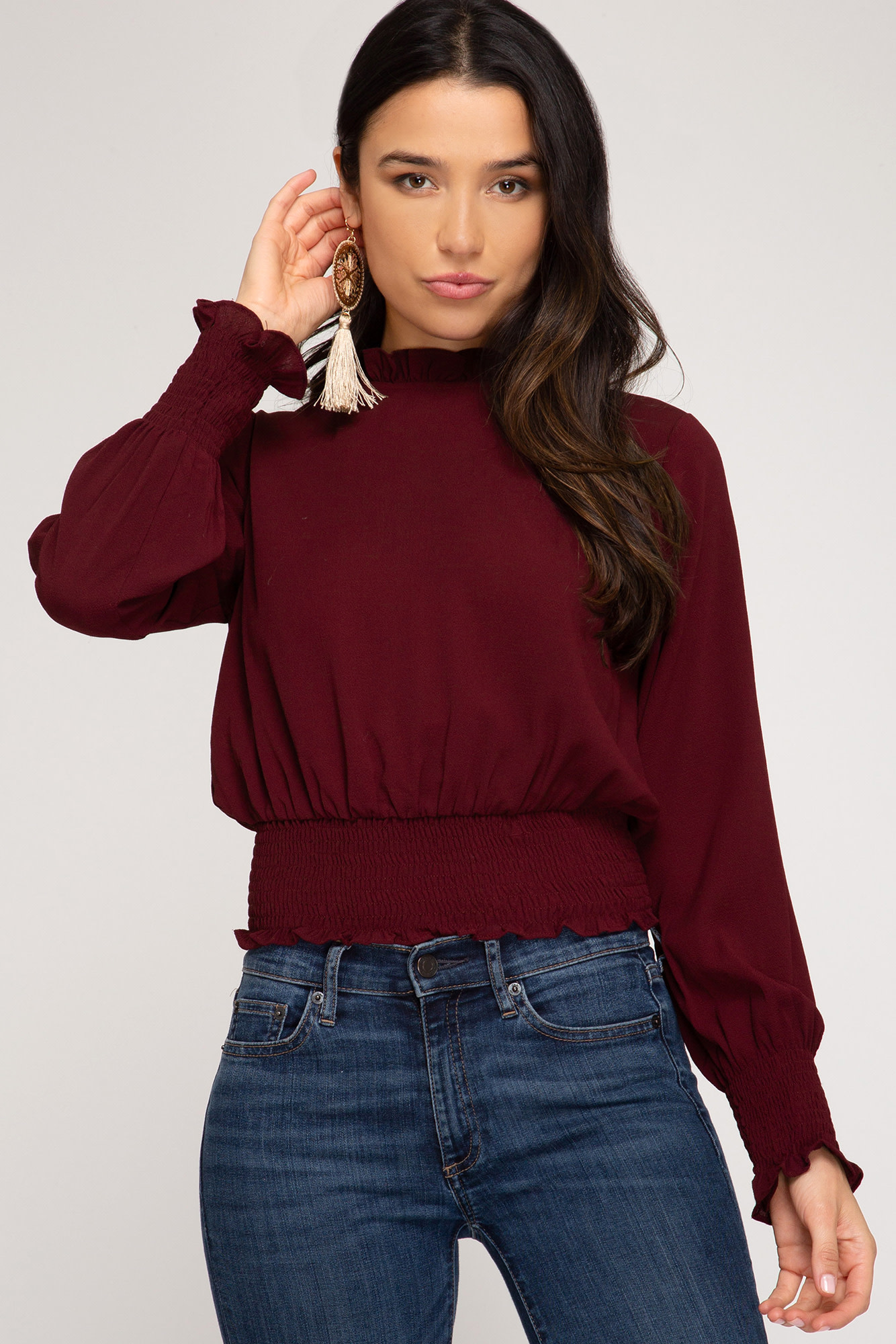 She + Sky L/S woven top with smocked waistband