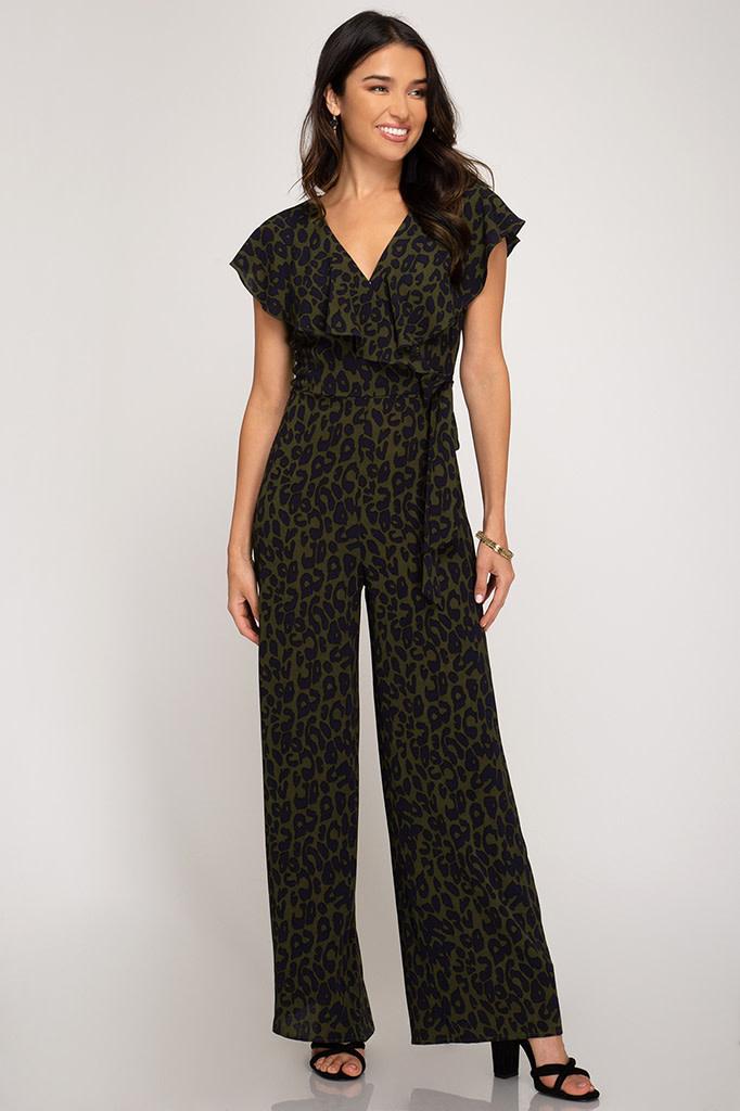 She + Sky Maxi leopard print jumpsuit